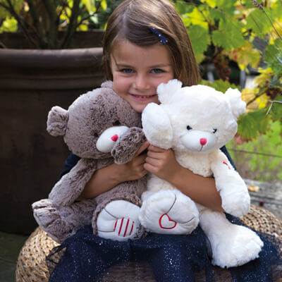 Traditional teddies, for babies and older children
